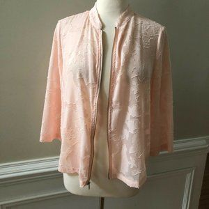 Chico's Size 1 Floral Mesh Lightweight Jacket